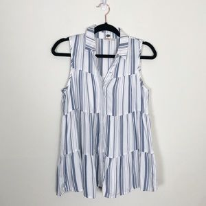 Anthropologie White and Blue Striped Tiered Tank